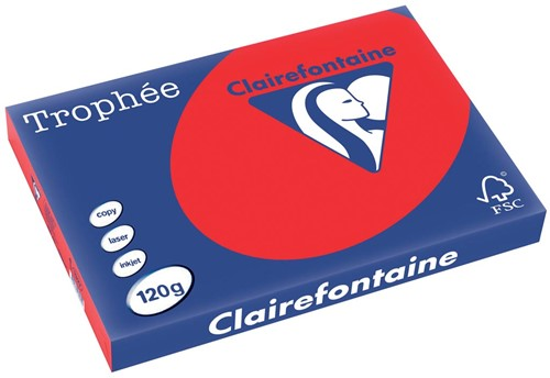 Clairefontaine Trophée Intens A3 koraalrood, 120 g, 250 vel