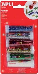 Apli Kids glitterpoeder, blister met 6 tubes in geassorteerde kleuren