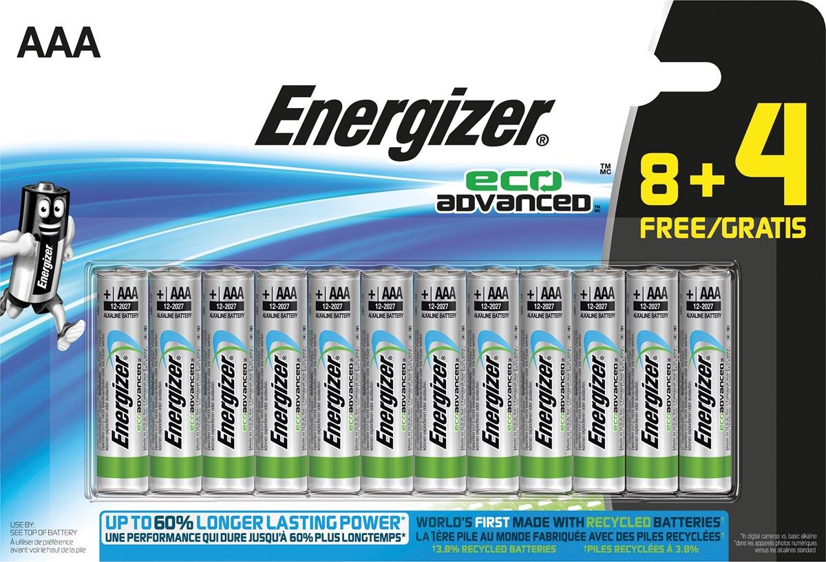 Energizer batterijen Eco Advanced AAA, blister van 8 + 4 stuks gratis