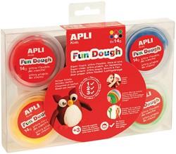 Apli Kids Fun Dough boetseerpasta, doos met 6 x 14 g, geassorteerde kleuren