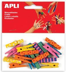 Apli gekleurde houten wasknijpers met motief, blister met 20 stuks in geassorteerde kleuren