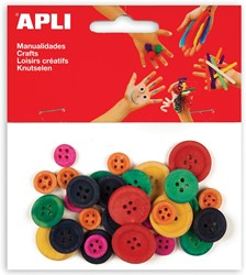 Apli gekleurde houten knopen, blister met 30 stuks