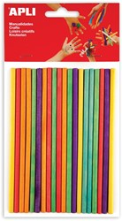 Apli gekleurde, ronde, houten staafjes, blister met 25 stuks in geassorteerde kleuren