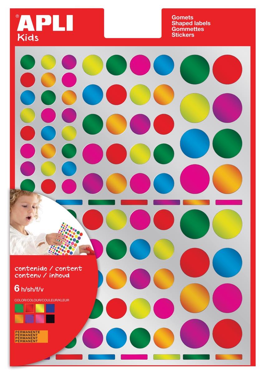 Apli Kids stickers, cirkel, blister met 624 stuks in geassorteerde metallic kleuren en groottes
