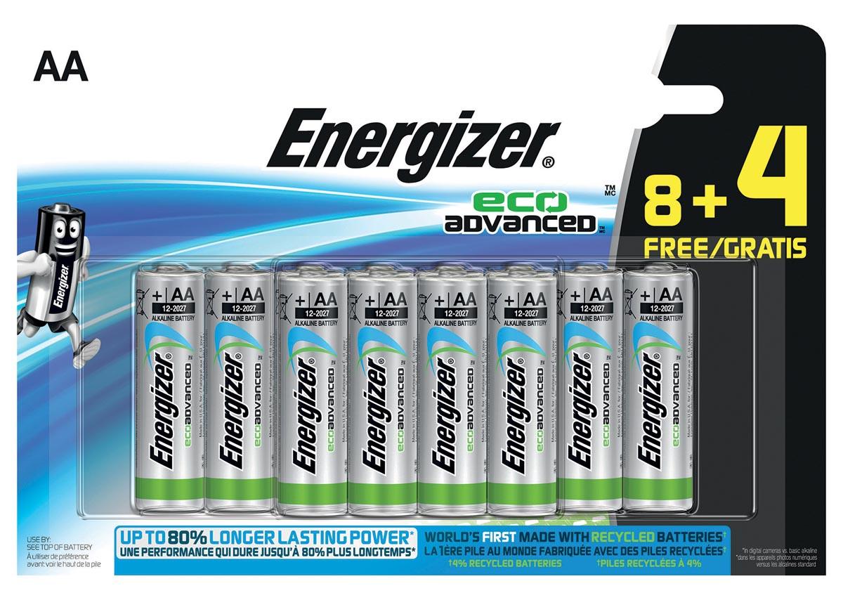 Energizer batterijen Eco Advanced AA, blister van 8 + 4 stuks gratis
