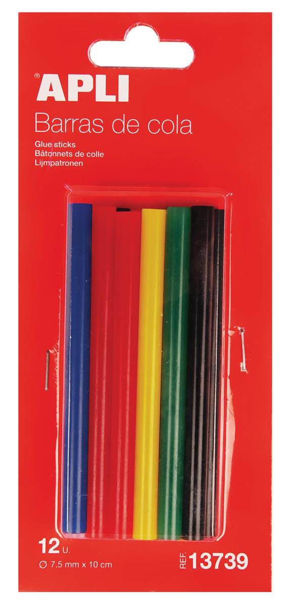 Apli lijmpatronen gekleurd 7,5mm 12 st