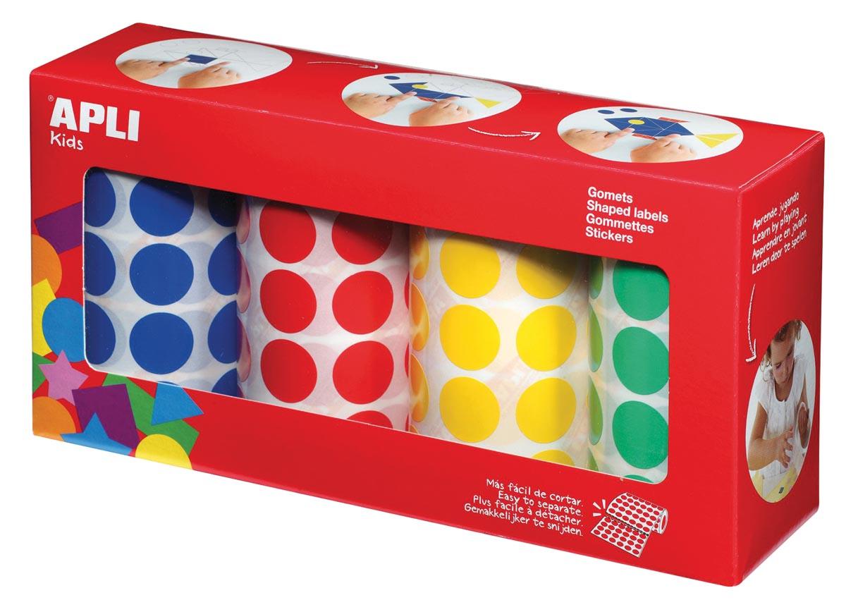 Apli Kids stickers XL cirkels, diameter 20 mm, doos met 4 rollen in 4 kleuren