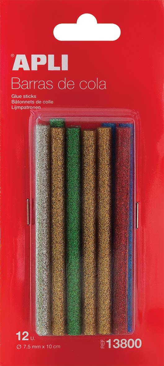 Apli kids glitter lijmpatronen blister met 12 stuks