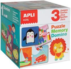 Apli Kids kubus met 1 puzzel, 1 Domino spel en 1 Memory spel