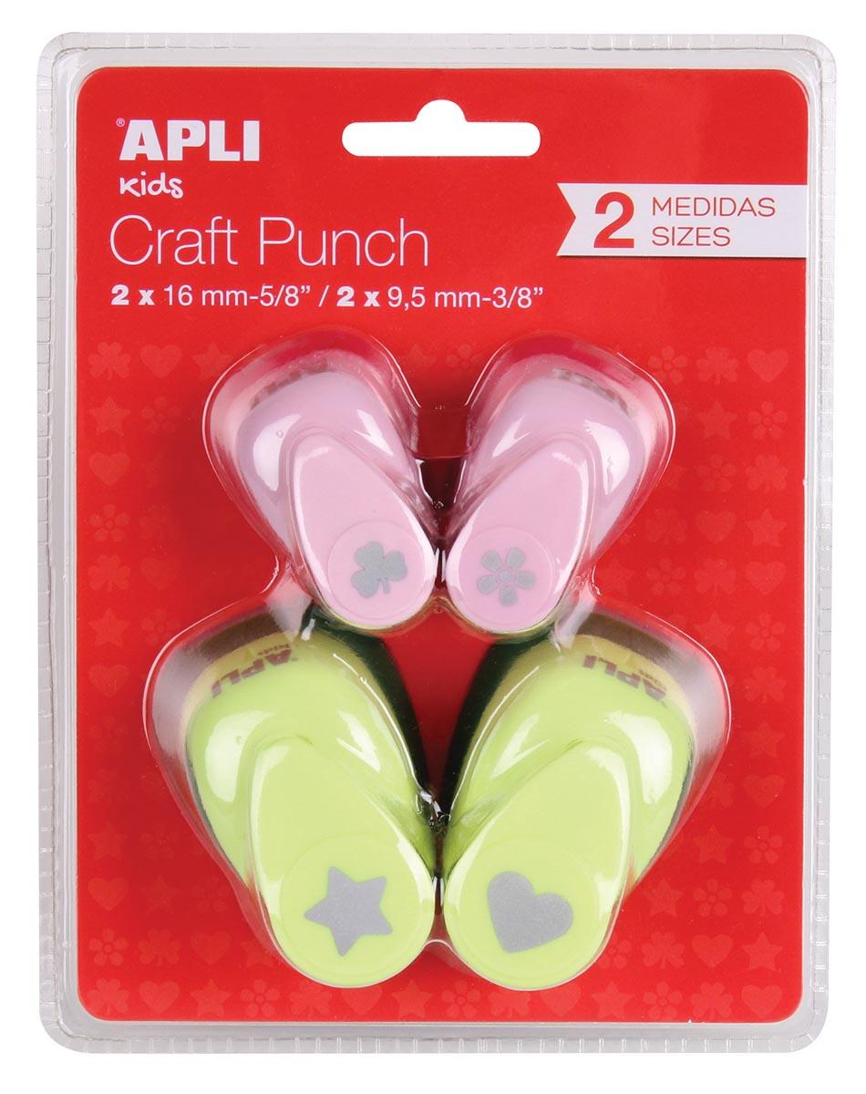 Apli Kids figuurpons voor papier, blister van 4 ponsen in geassorteerde kleuren en vormen