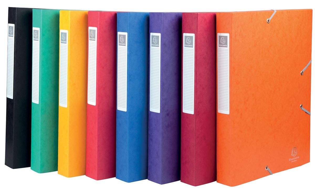 Exacompta Elastobox Cartobox rug van 4 cm, geassorteerde kleuren: groen, blauw, geel, rood, paars, zwa...