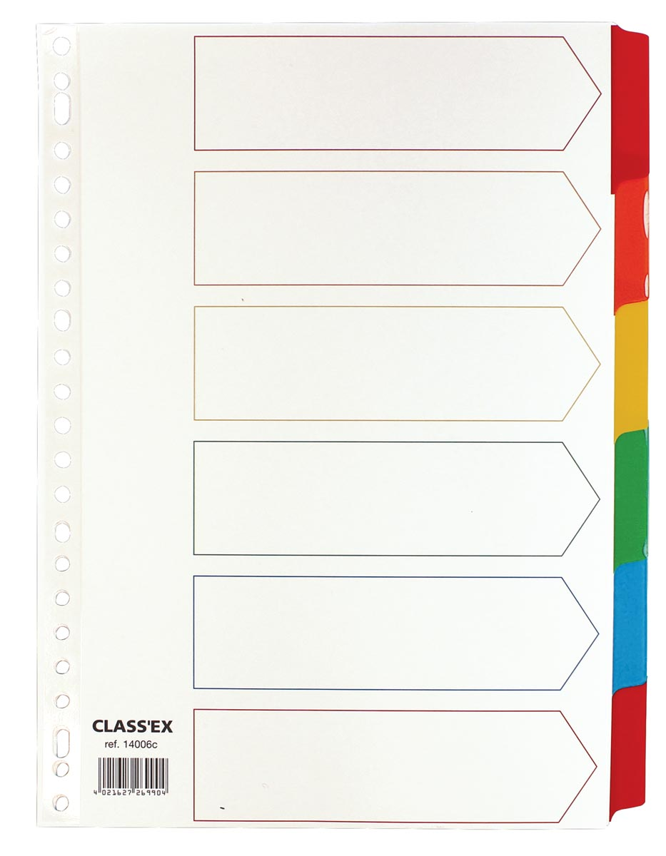 Class'ex tabbladen wit, 23-gaatsperforatie, 6 gekleurde tabs