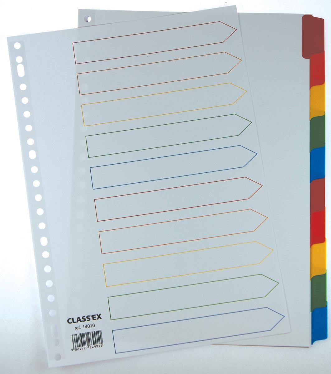 Class'ex tabbladen wit, 23-gaatsperforatie, 10 gekleurde tabs