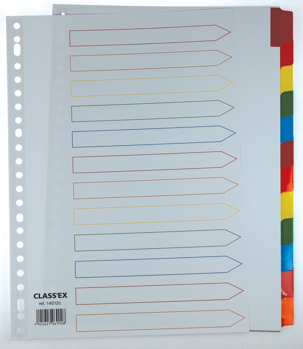 Class'ex tabbladen wit, 23-gaatsperforatie, 12 gekleurde tabs