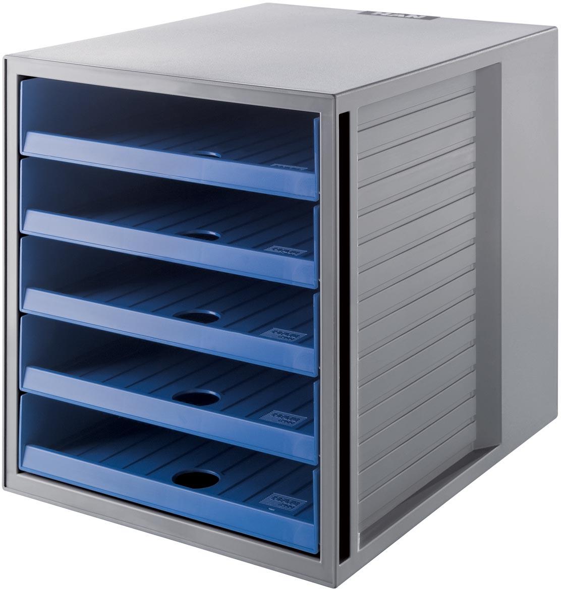 Han ladenblok Systembox Karma, met 5 open laden, eco-blauw