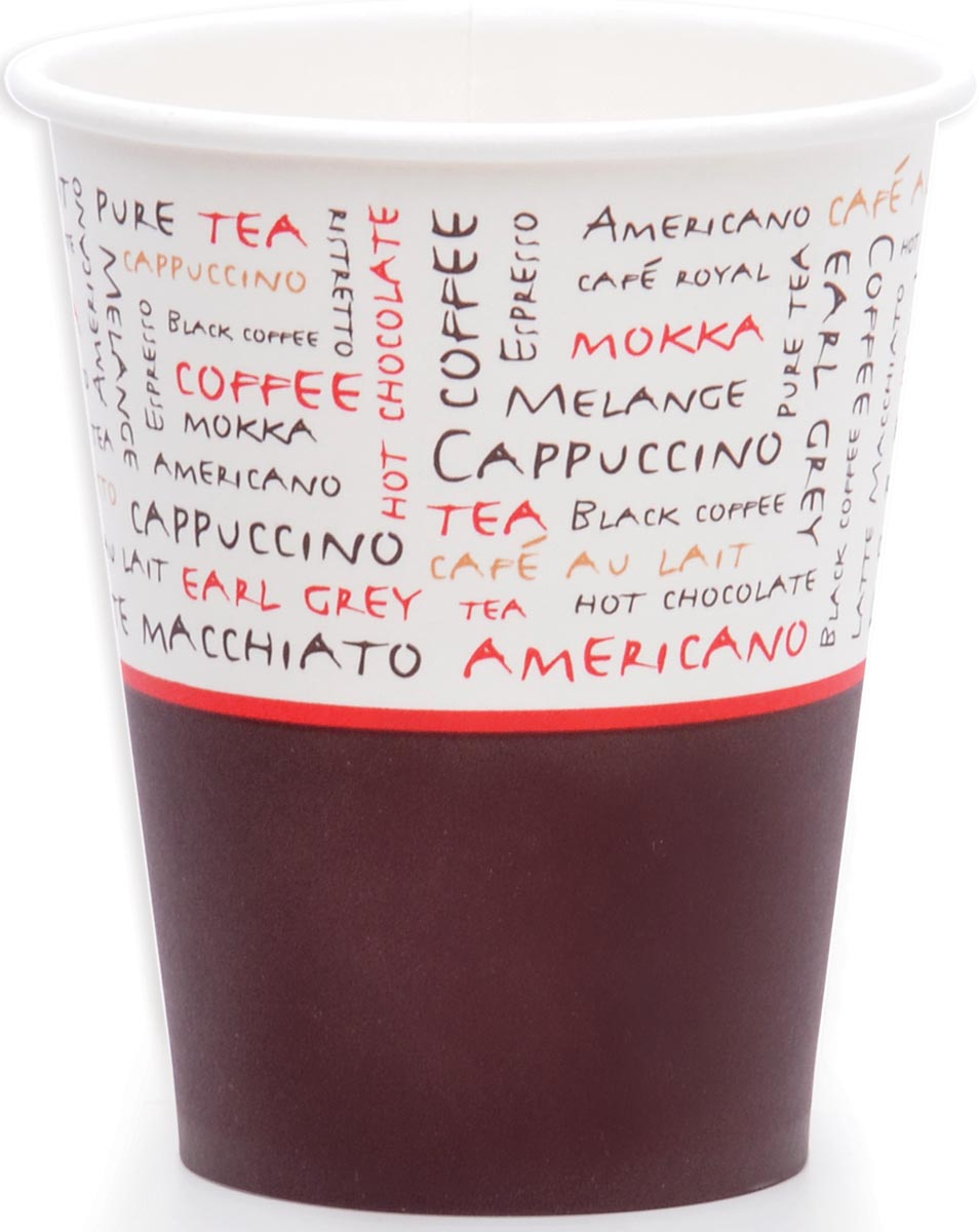 Drinkbeker uit karton, 230 ml, diameter 80 mm, pak van 1000 stuks