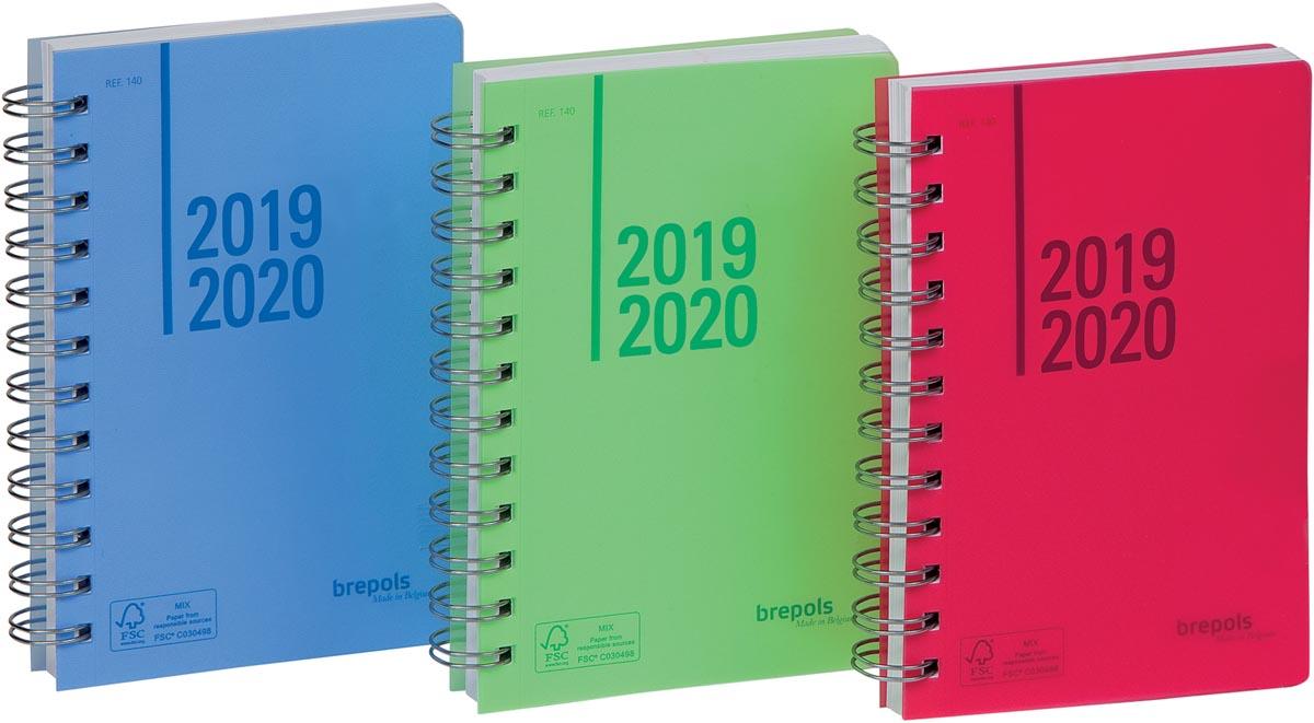 Brepols Schoolagenda Wire-o, geassorteerde kleuren, 2020