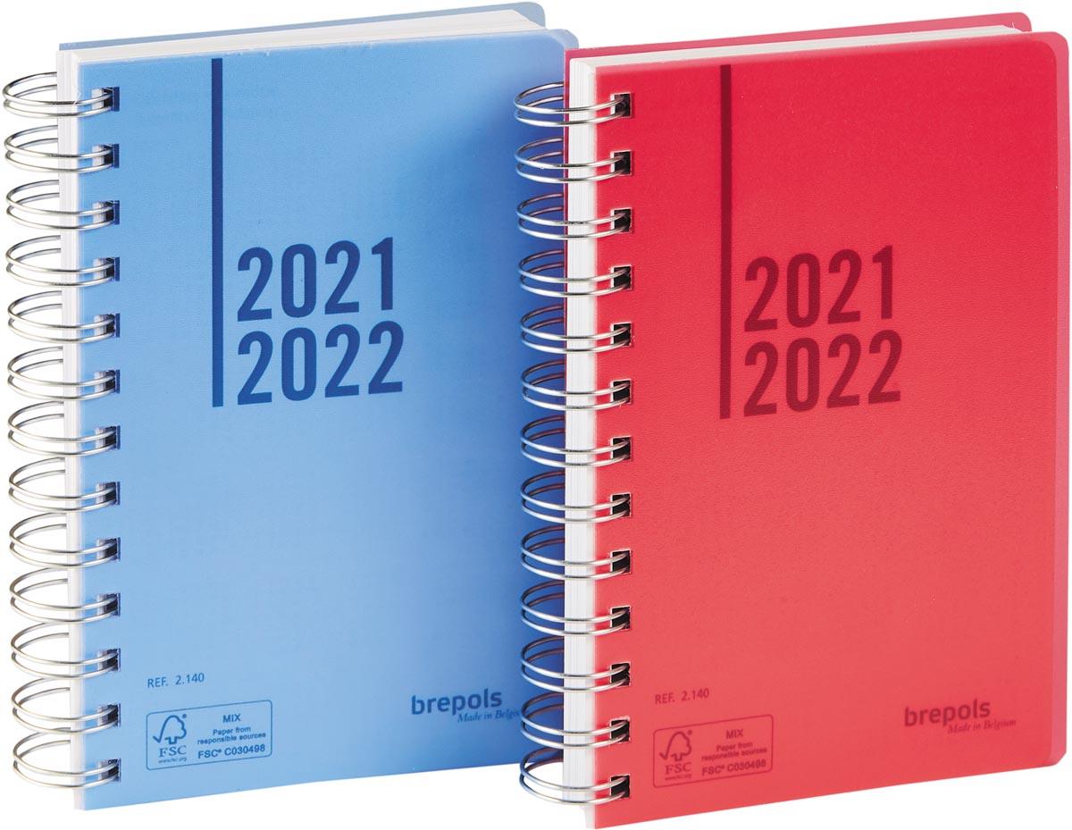 Brepols schoolagenda Wire-o, geassorteerde kleuren, 2021-2022