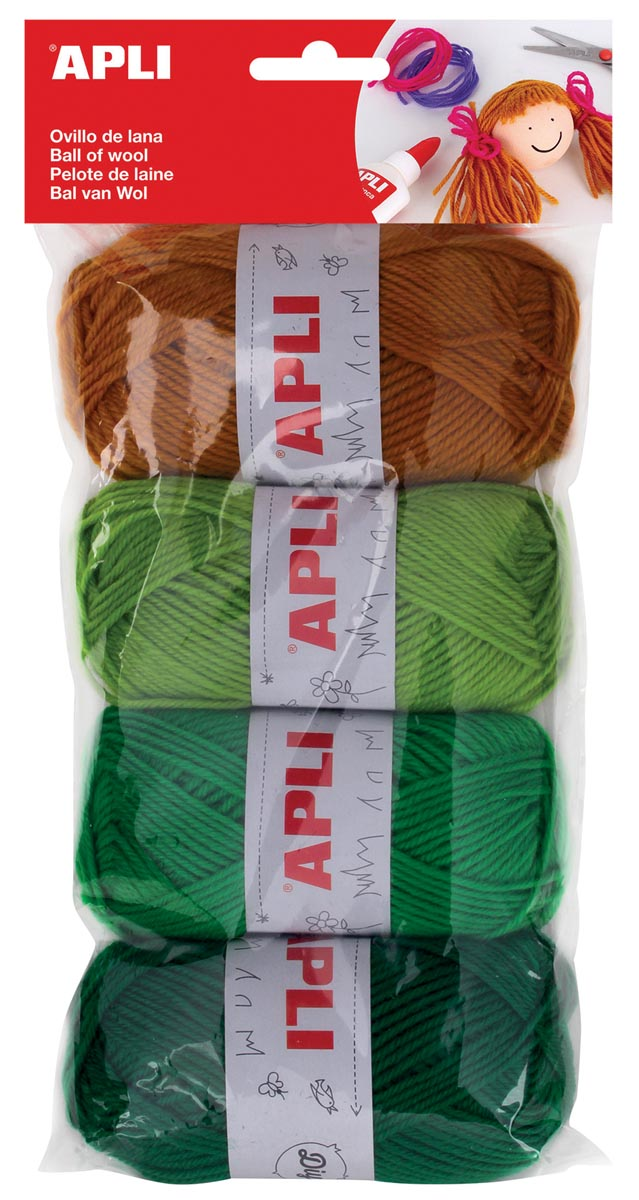Apli bol wol 50 g, blister met 4 stuks, assortiment groen