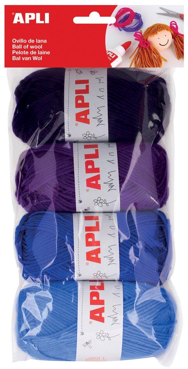 Apli bol wol 50 g, blister met 4 stuks, assortiment blauw