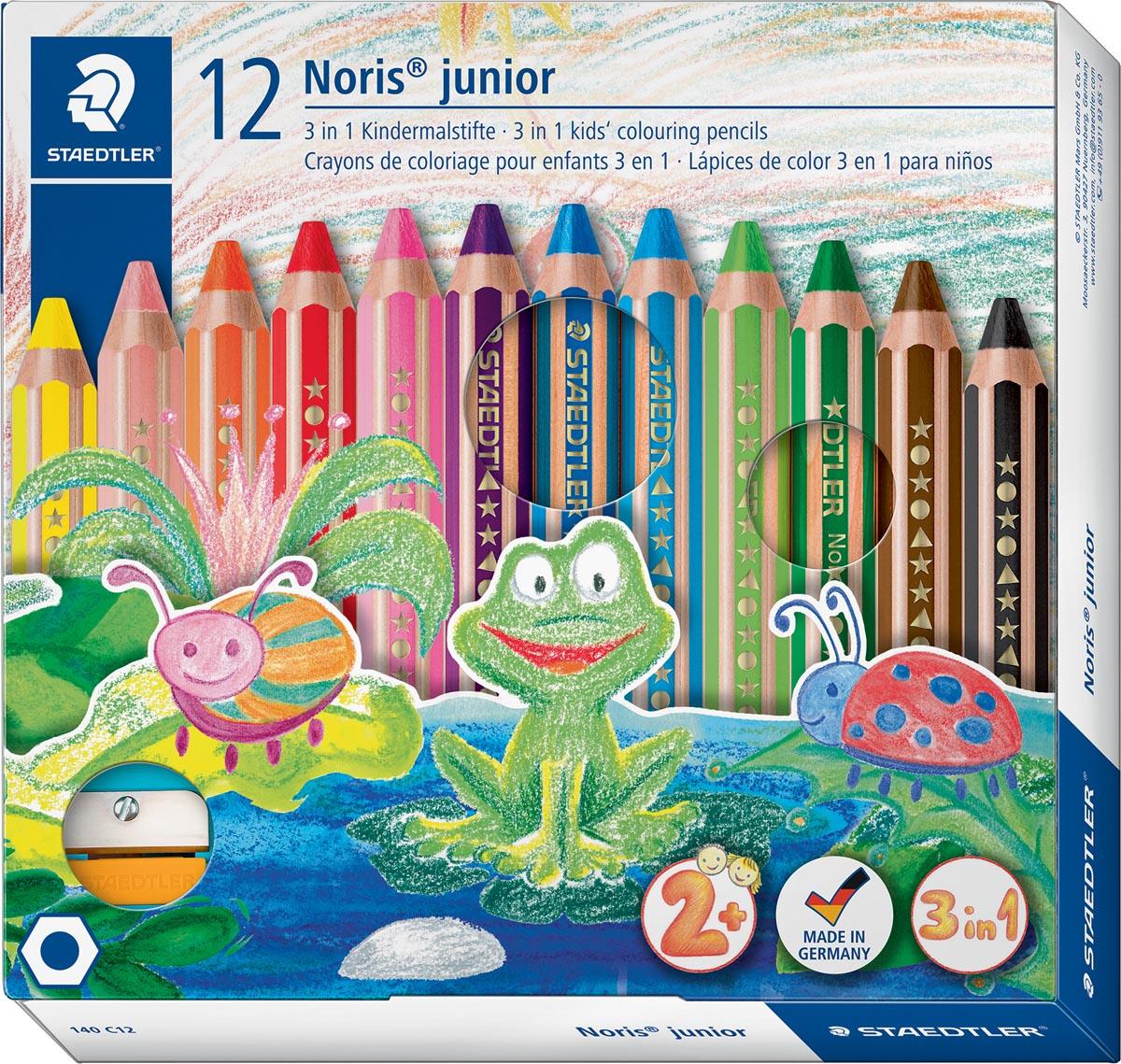 Staedtler kleurpotlood Buddy 3-in-1, doos van 12 stuks in geassorteerde kleuren