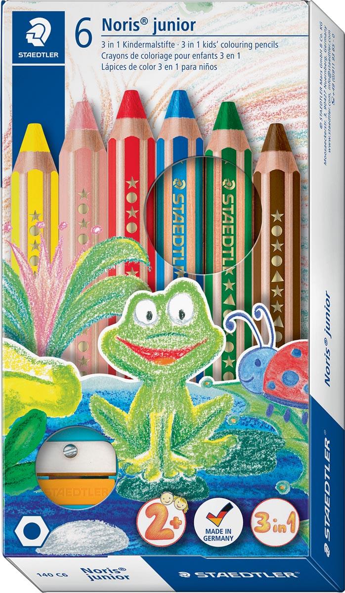 Staedtler kleurpotlood Buddy 3-in-1, doos van 6 stuks in geassorteerde kleuren
