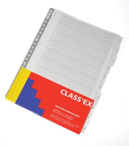 Class'ex tabbladen set 1-10, 23-gaatsperforatie, karton