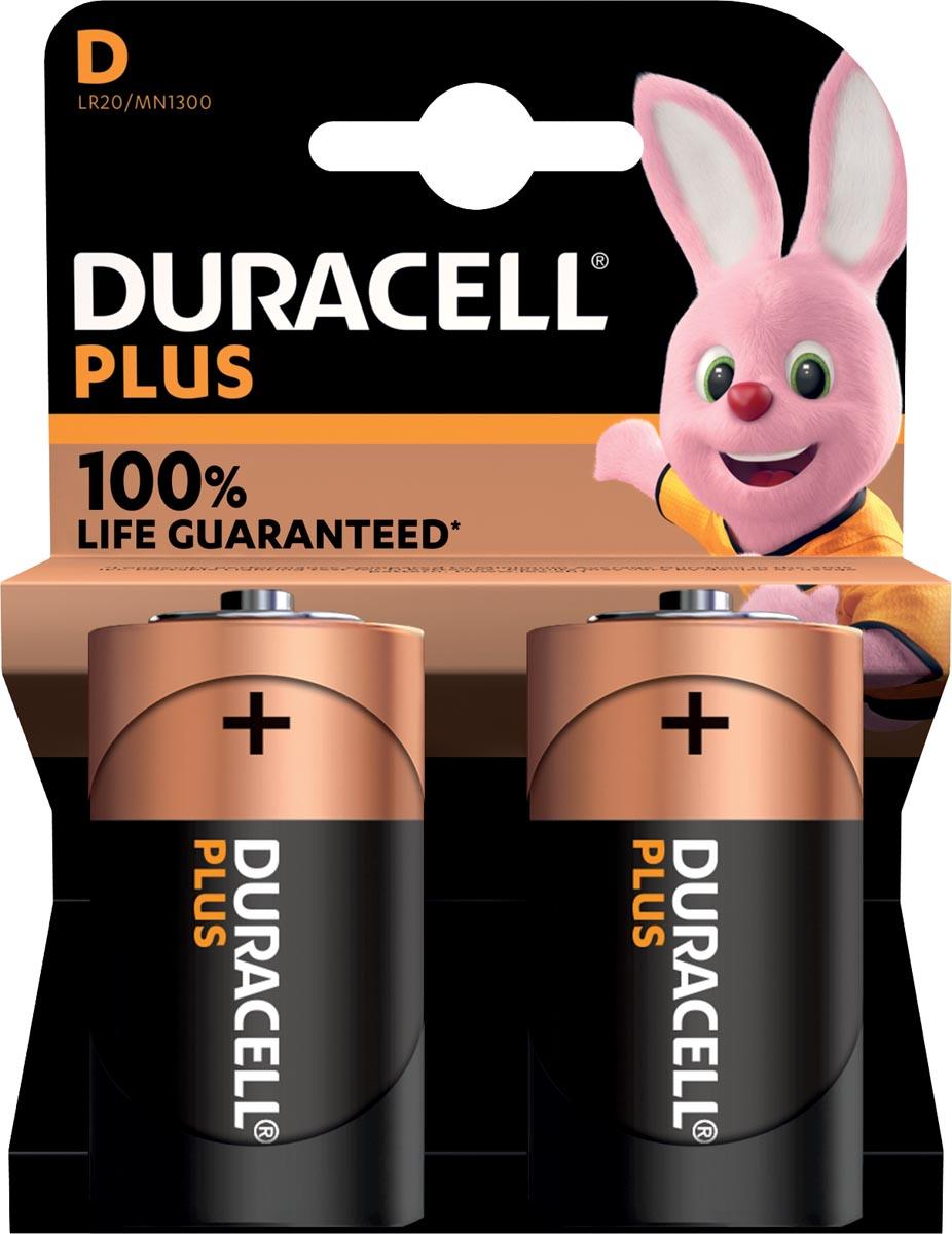 Duracell batterij Plus 100% D, blister van 2 stuks