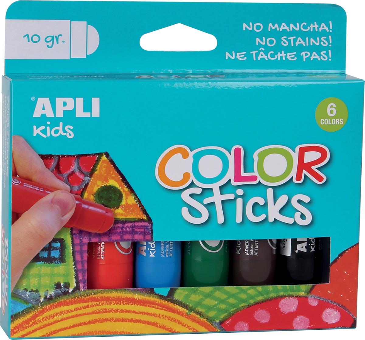 Apli Kids plakkaatverf Color sticks, blister met 6 stuks