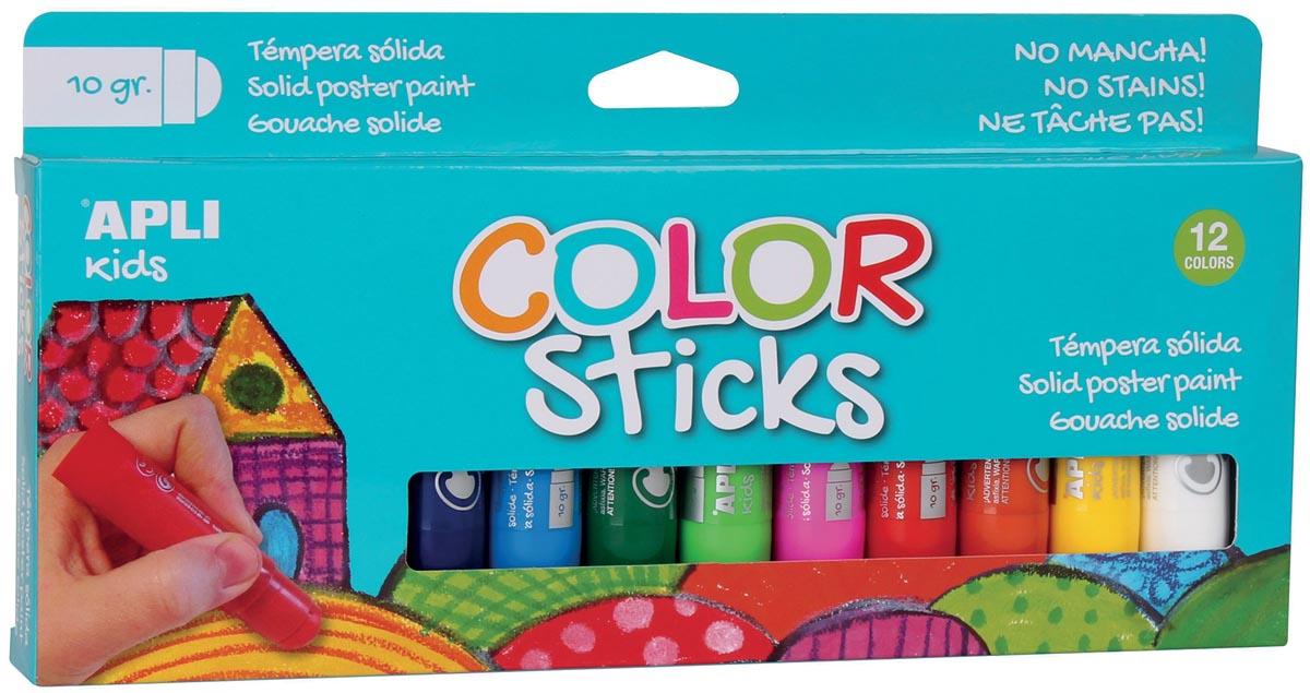 Apli Kids plakkaatverf color sticks, blister met 12 stuks