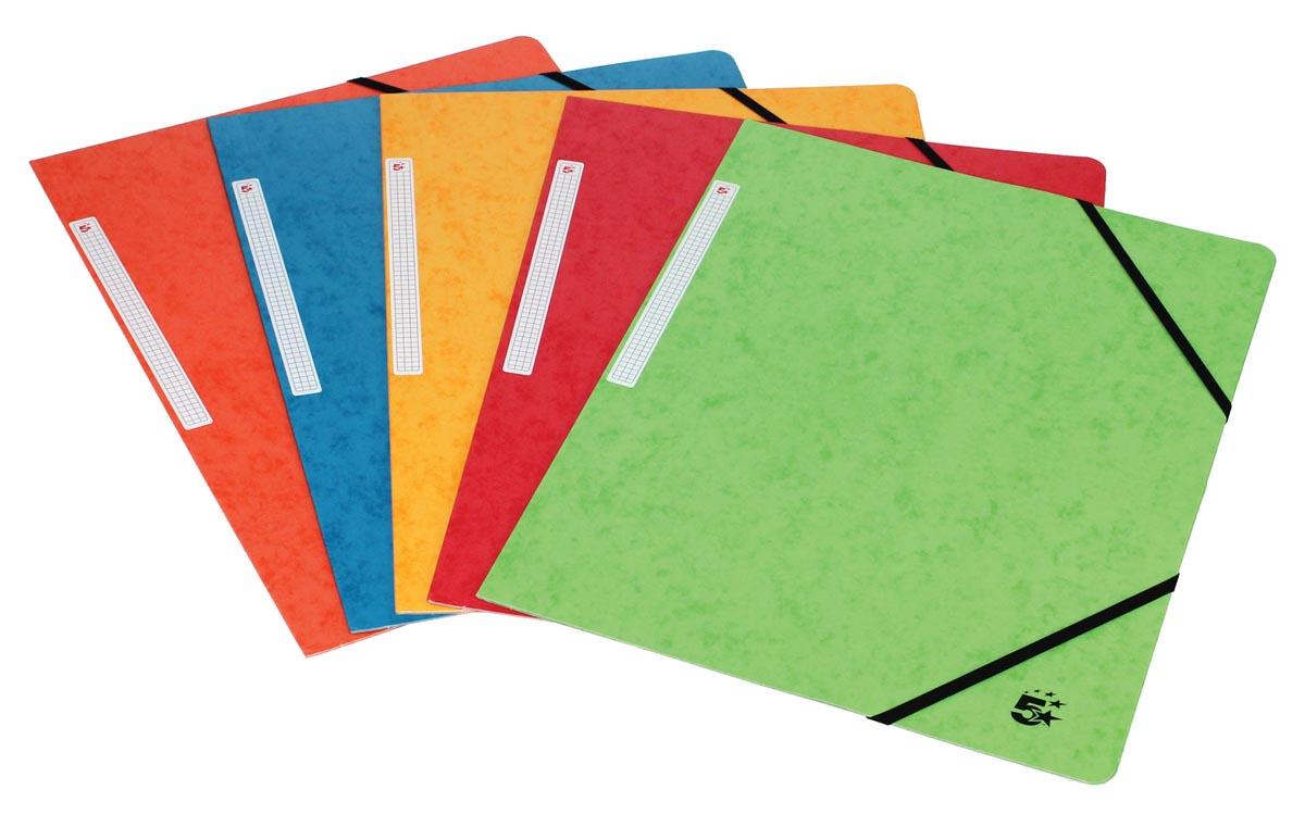5 Star elastomap 3 kleppen, geassorteerde kleuren, pak van 10