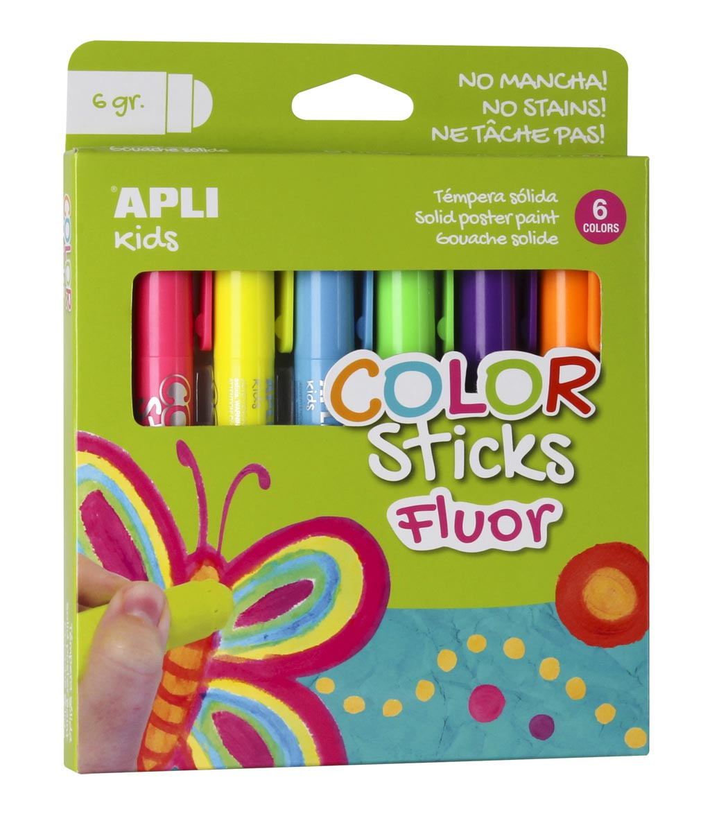 Apli Kids color sticks fluor, blister met 6 stuks