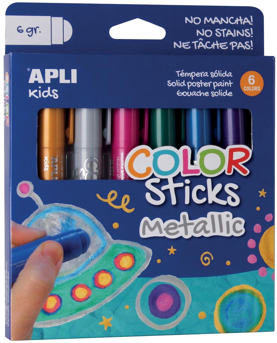 Apli Kids plakkaatverf Color sticks, metallic, blister met 6 stuks
