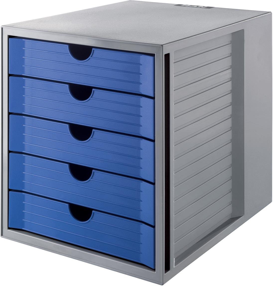 Han ladenblok Systembox Karma, met 5 gesloten laden, eco-blauw