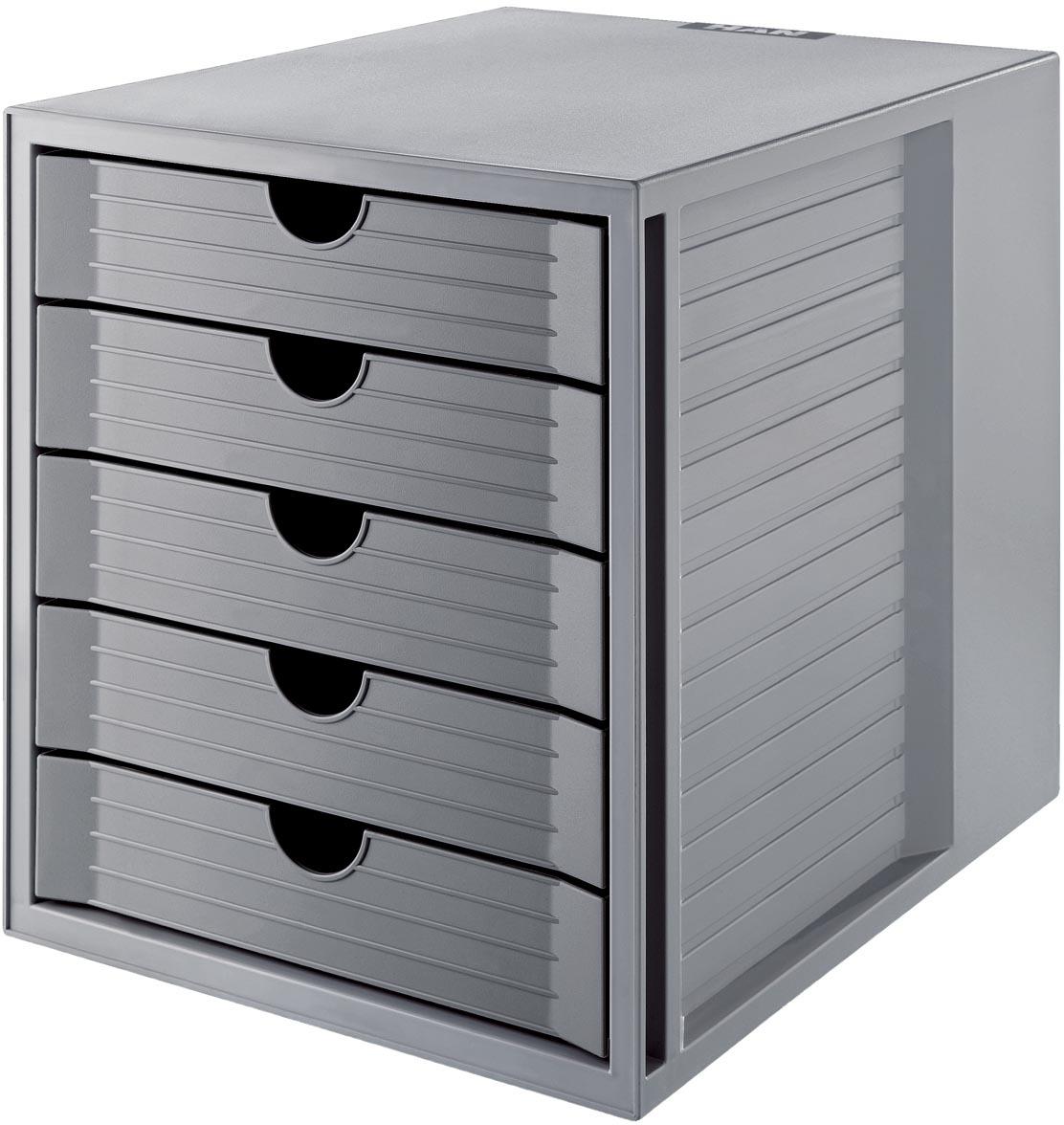 Han ladenblok Systembox Karma, met 5 gesloten laden, eco-grijs