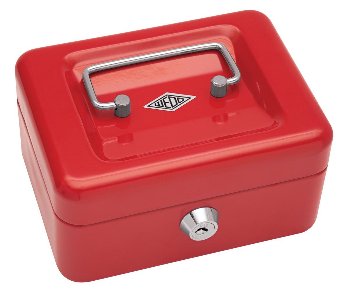Wedo geldkoffer, ft 12,5 x 11,5 x 8 cm, rood