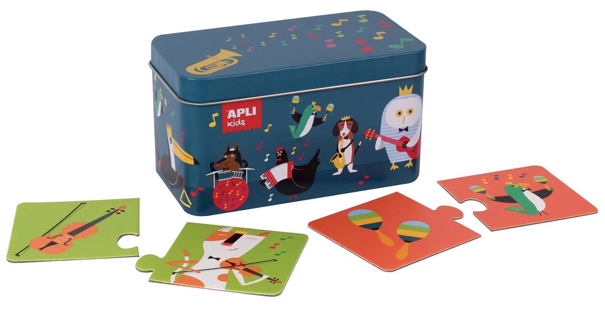 Apli Kids duo-puzzel muziek, metalen doos met 24 stuks