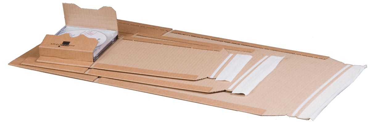 Smartbox verzenddoos voor 1 - 5 CD's, ft 14,7 x 12,9 x 5,5 cm, bruin
