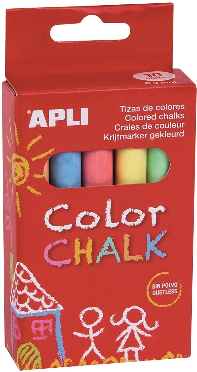 Apli bordkrijt, doos van 10 stuks in 6 geassorteerde kleuren