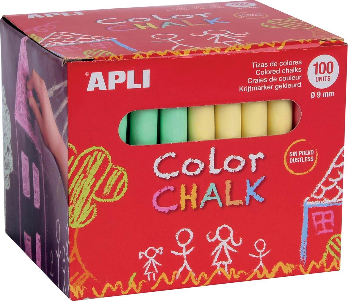 Apli gekleurd krijt, doos met 100 krijtjes in geassorteerde kleuren