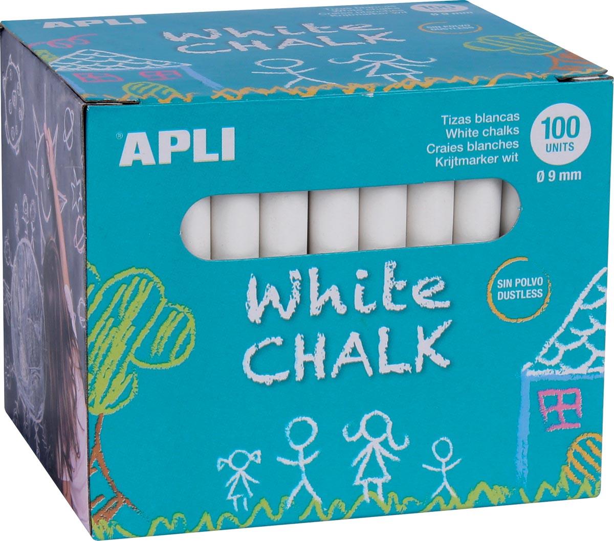Apli wit krijt, doos met 100 krijtjes