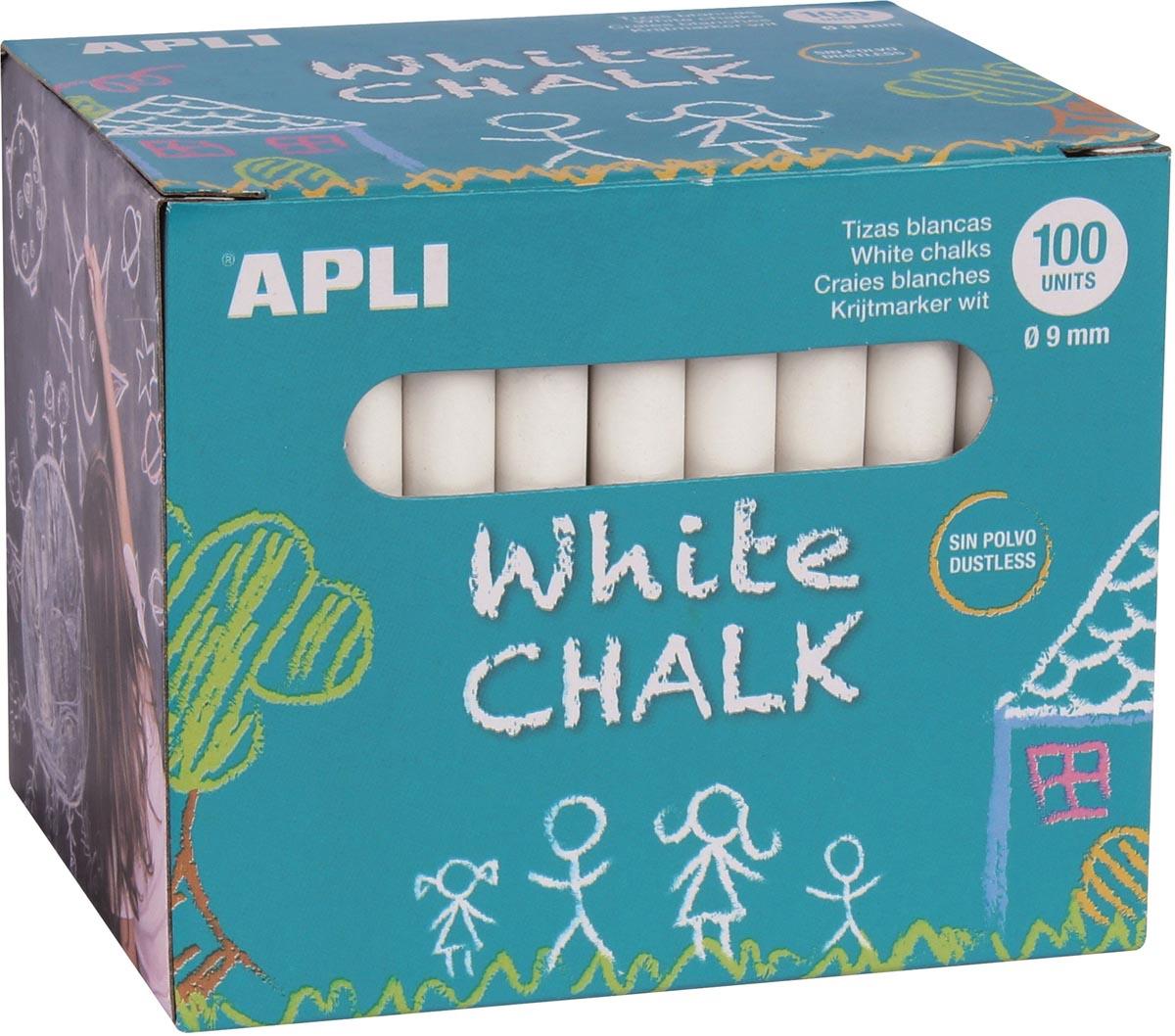 Apli bordkrijt, doos van 100 stuks, wit