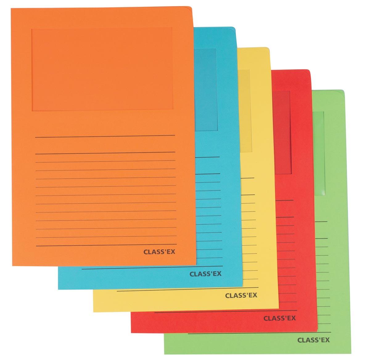Class'ex L-map met venster geassorteerde intense kleuren