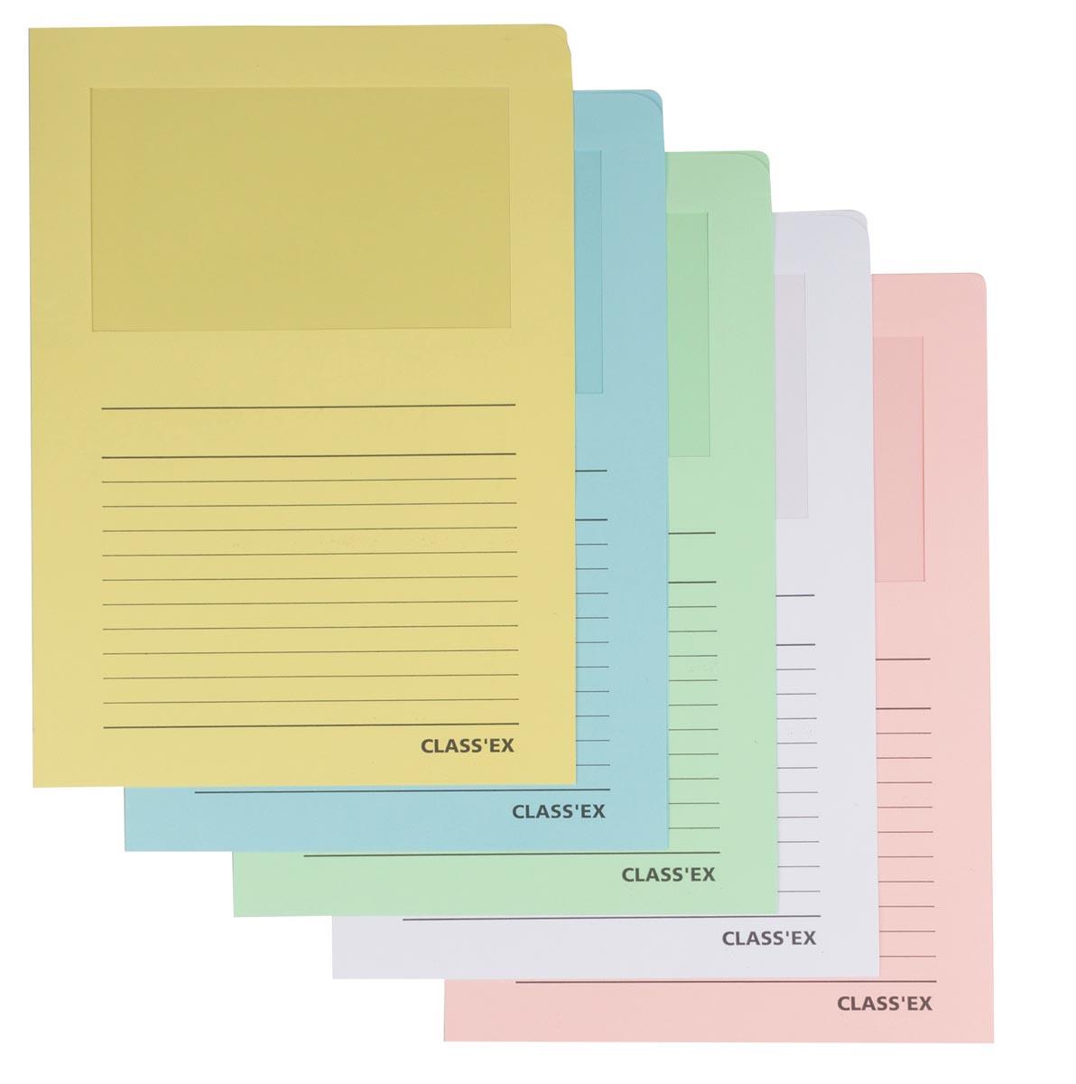 Class'ex L-map met venster geassorteerde pastelkleuren