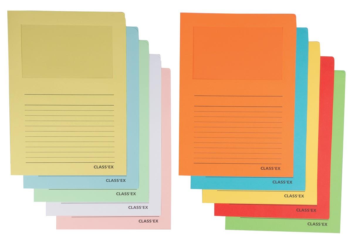 Class'ex L-map met venster geassorteerde intense en pastelkleuren