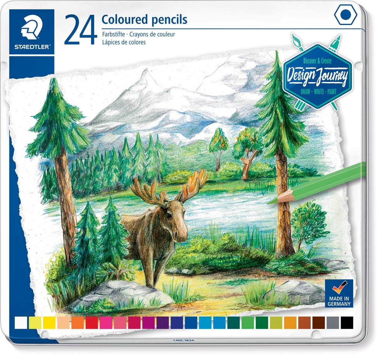 Staedtler kleurpotlood Design Journey, metalen doos met 24 kleuren