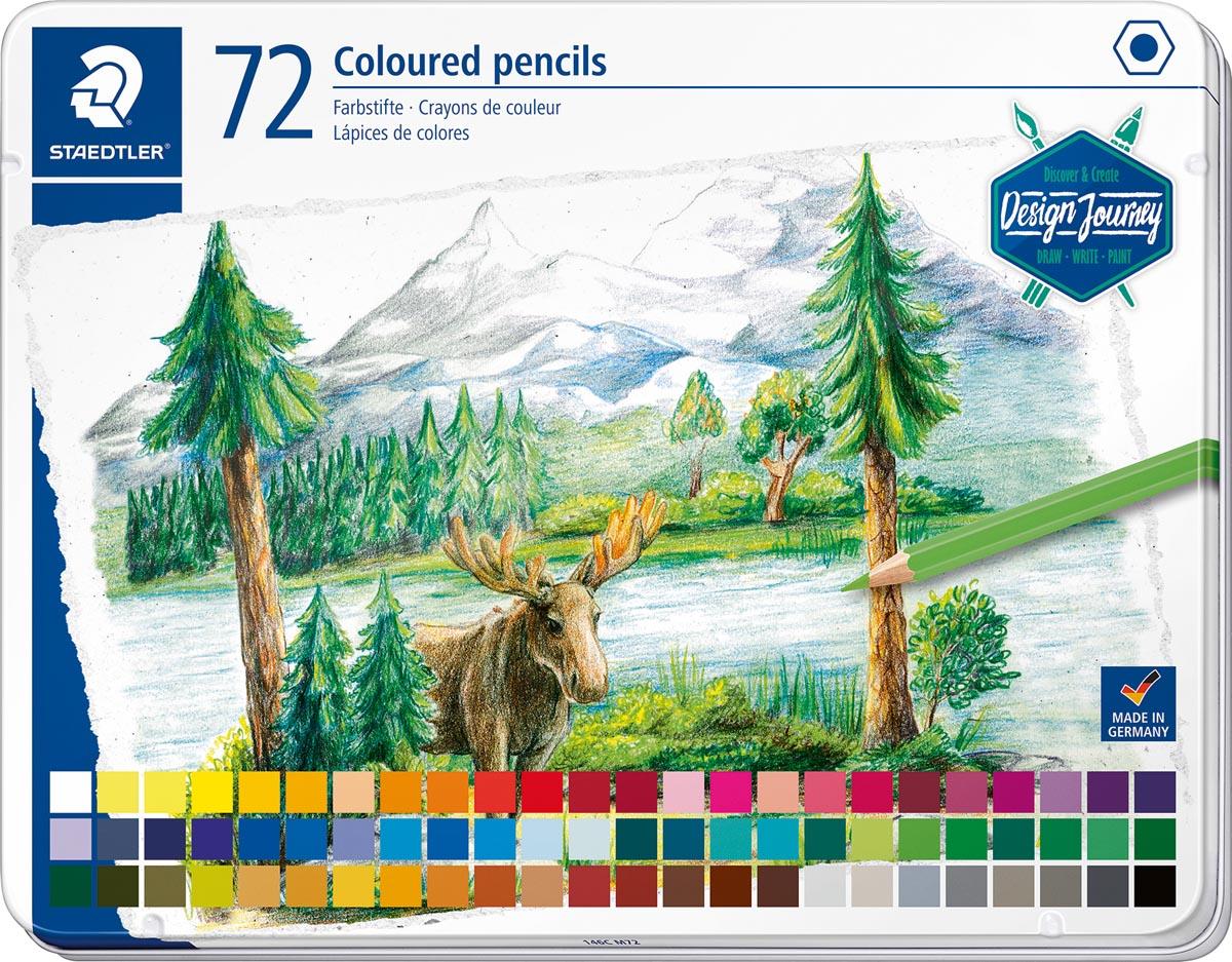 Staedtler zeskantige vorm kleurpotloden, metalen etui, 72 kleuren