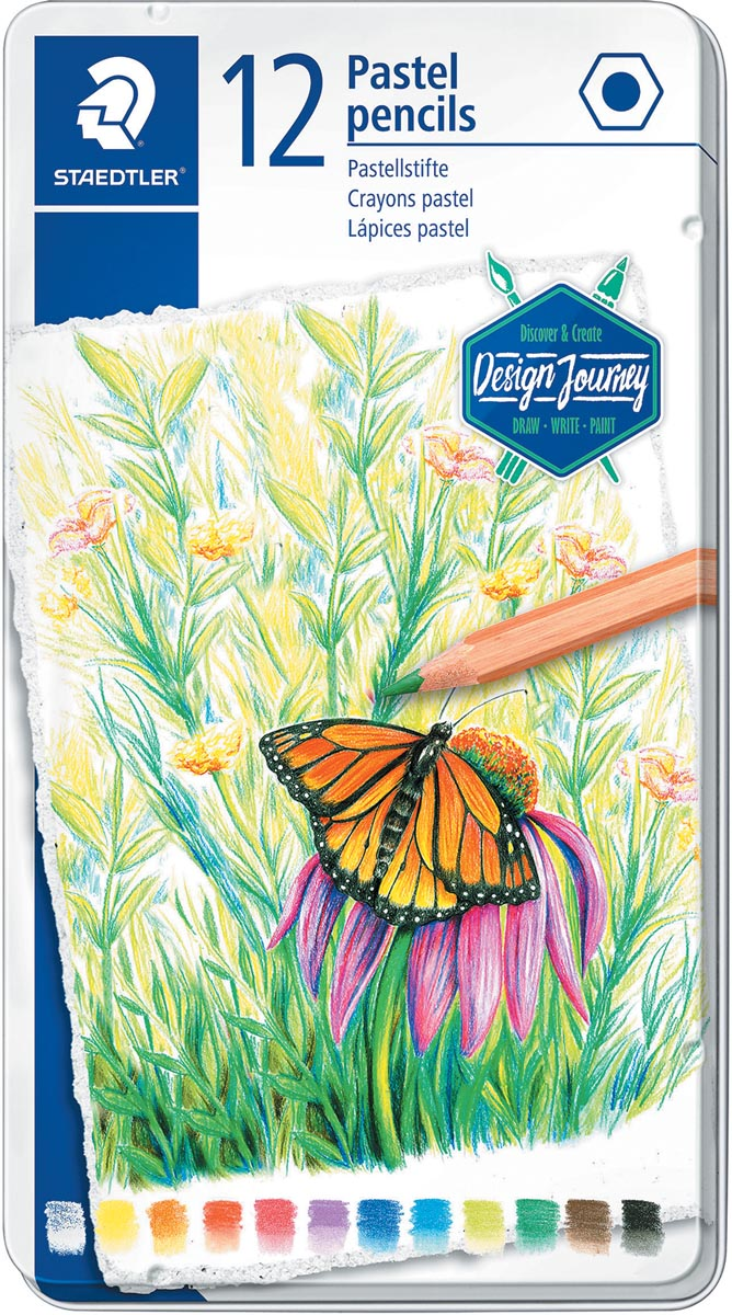Staedtler kleurpotlood Design Journey Pastel, metalen doos met 12 kleuren