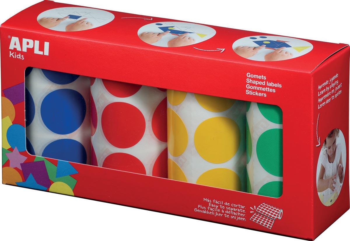 Apli Kids stickers XL cirkels, diameter 33 mm, doos met 4 rollen in 4 kleuren