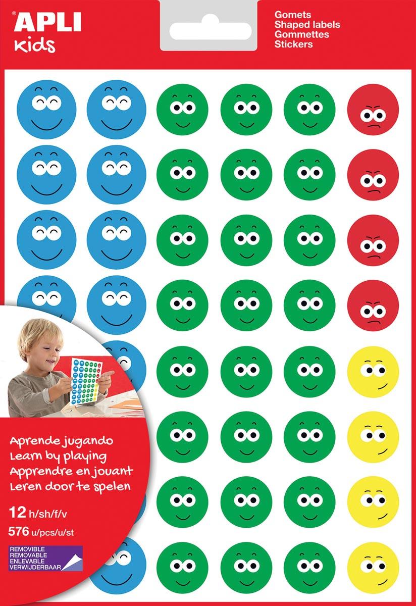 Apli Kids beloningsstickers Happy Smile, groot, blister met 12 vellen